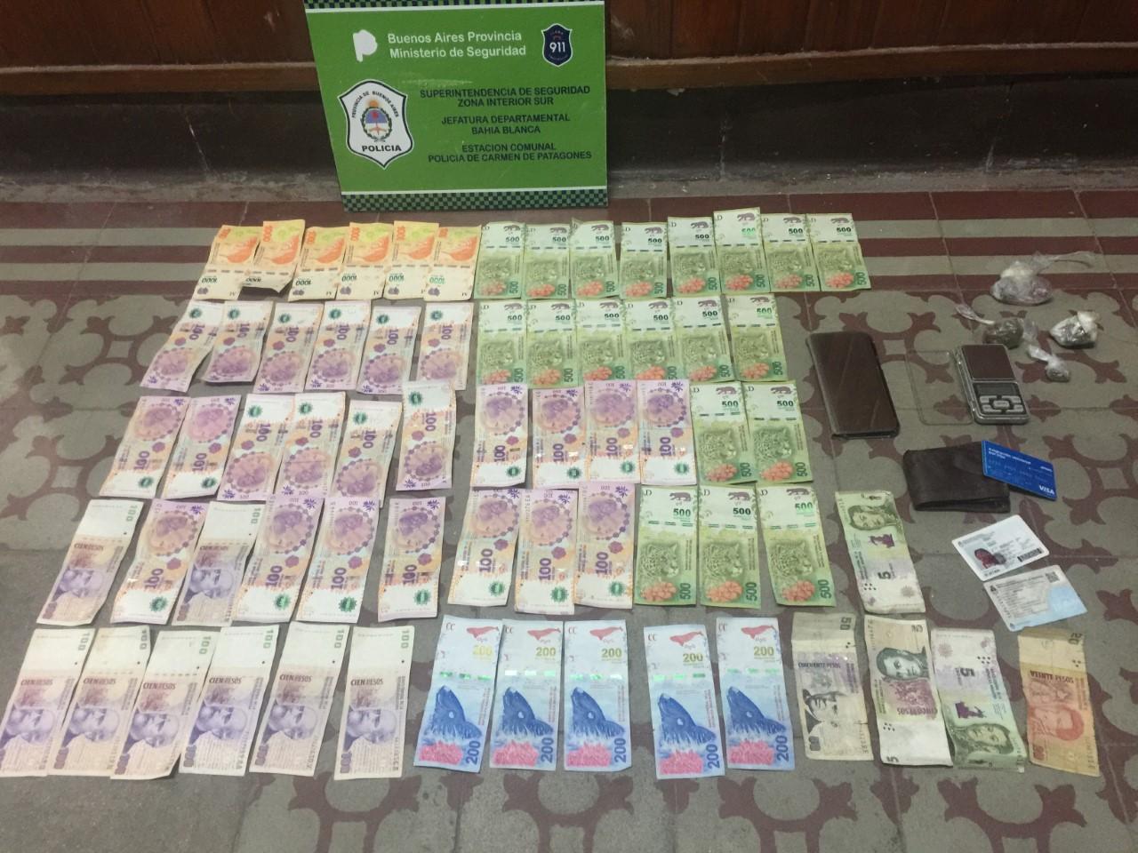 Un detenido con cocaína, marihuana, plata y una balanza en Patagones